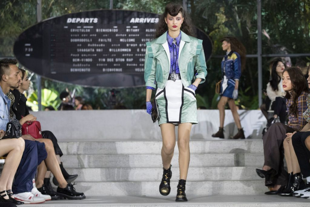 A model walks the runway during the Louis Vuitton Cruise 2020 collection presentation, in New YorkFashion Louis Vuitton Cruise 2020, New York, USA - 08 May 2019