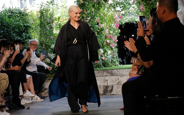 Designer Maria Grazia Chiuri accepts applause at the end of the Dior Haute Couture Fall-Winter 2020 fashion collection presented in ParisFashion F/W 2020 Dior, Paris, France - 01 Jul 2019