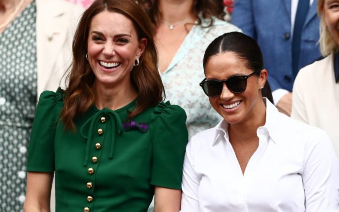 Catherine Duchess of Cambridge and Meghan Duchess of Sussex in the Royal Box on Centre CourtWimbledon Tennis Championships, Day 12, The All England Lawn Tennis and Croquet Club, London, UK - 13 Jul 2019