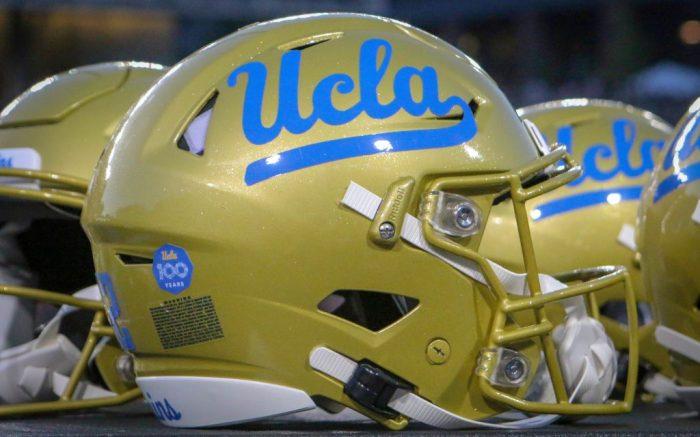A UCLA helmet on the sideline during an NCAA football game between the Cincinnati Bearcats and the UCLA Bruins at Nippert Stadium in Cincinnati, OhioNCAA Football UCLA Bruins vs Cincinnati Bearcats, Cincinnati, USA - 29 Aug 2019