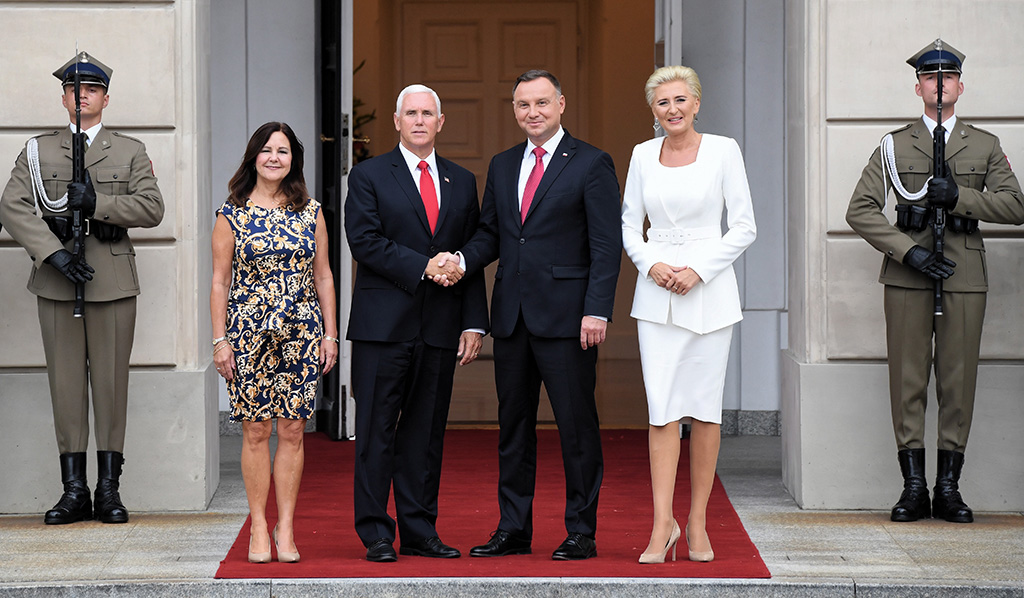 Polish President Andrzej Duda (2-R) and Polish First Lady Agata Kornhauser-Duda (R) are bid farewell by US Vice President Mike Pence (2-L) and Second Lady Karen Pence (L) before departing of the Presidential Palace in Warsaw, Poland 02 September 2019. Pence is on an official visit to Poland.US Vice President Mike Pence visits, Warsaw, Poland - 02 Sep 2019