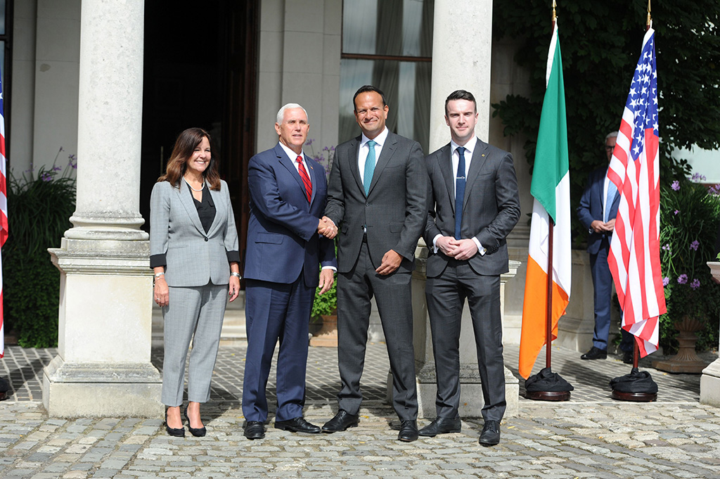 US Vice President Mike Pence (C-L) and his wife Karen Spence (L) meeting Irish, An Taoiseach, (Prime Minister) Leo Varadkar (C-R) and his partner Michael Barrett (R) in Dublin Ireland, 03 September 2019. Mike Pence is on an official visit to Ireland stretching over the next three days.US Vice President Mike Pence visits Ireland, Dublin - 03 Sep 2019