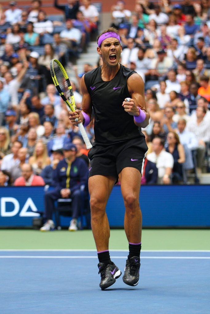 Rafael Nadal of Spain celebrates winning the first set in the Men?s FinalUS Open Tennis Championships, Day 14, USTA National Tennis Center, Flushing Meadows, New York, USA - 08 Sep 2019