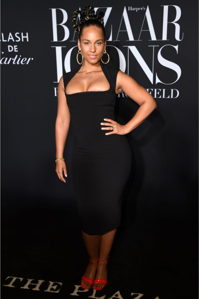 Alicia Keys, Harper's Bazaar, party, Icons, black dresss, red patent shoes, NYFW