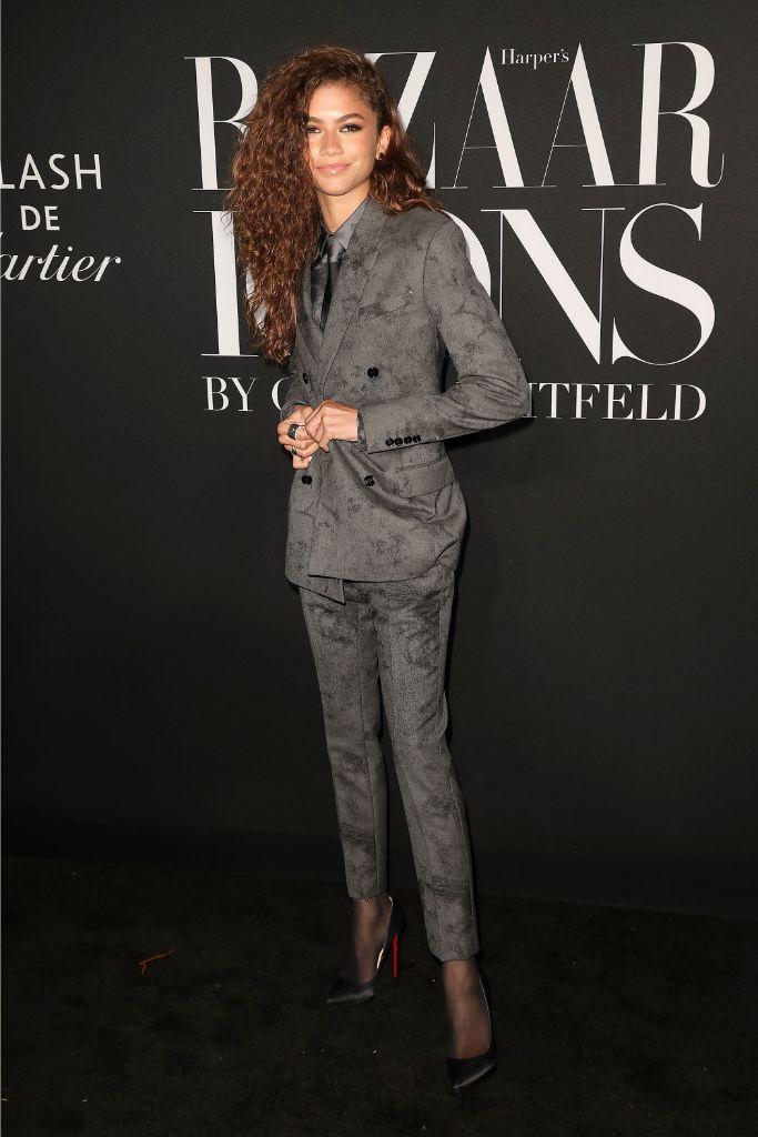 Zendaya, suit, tie, Louboutin, Harper's Bazaar, Icons, party.