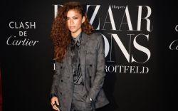 Zendaya, suit, tie, Louboutin, Harper's Bazaar,