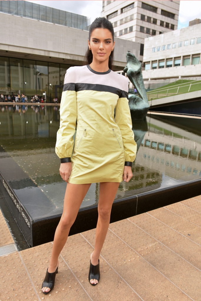 Kendall Jenner, minidress, leather dress, legs, celebrity style, in the front rowLongchamp show, Front Row, Spring Summer 2020, New York Fashion Week, USA - 07 Sep 2019