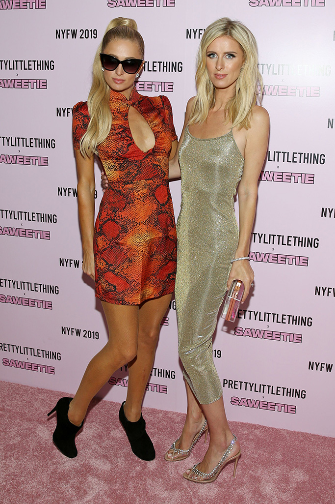 Paris Hilton and Nicky Hilton RothschildPrettyLittleThing x Saweetie show, Arrivals, Spring Summer 2020, New York Fashion Week, USA - 08 Sep 2019