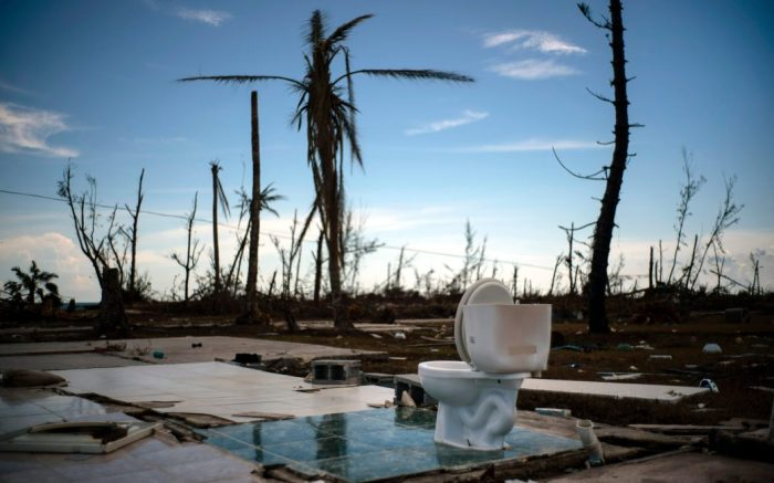 A toilet stands amid the rubble of what was once a home after it was destroyed by Hurricane Dorian one week ago in Pelican Point, Grand Bahama, Bahamas, . The toll from the storm in the Bahamas stood at 44 Monday but officials have warned that the number of deaths is likely to rise as security forces and other teams search devastated areas of the northern BahamasTropical Weather, Pelican Point, Bahamas - 08 Sep 2019