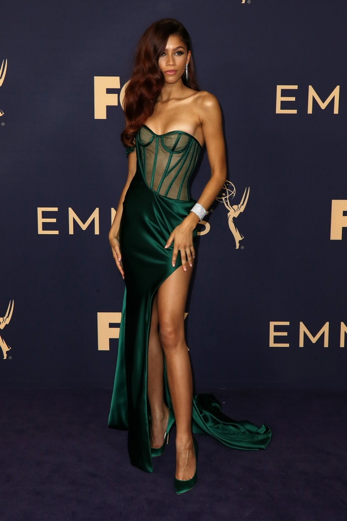 Zendaya, Brian Atwood shoes, vera wang dress, celebrity style, legs, 71st Annual Primetime Emmy Awards, Arrivals, Microsoft Theatre, Los Angeles, USA - 22 Sep 2019