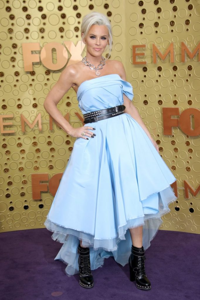 Jenny McCarthy, Alexander McQueen, blue dress, combat boots, 71st Annual Primetime Emmy Awards, Arrivals, Microsoft Theatre, Los Angeles, USA - 22 Sep 2019