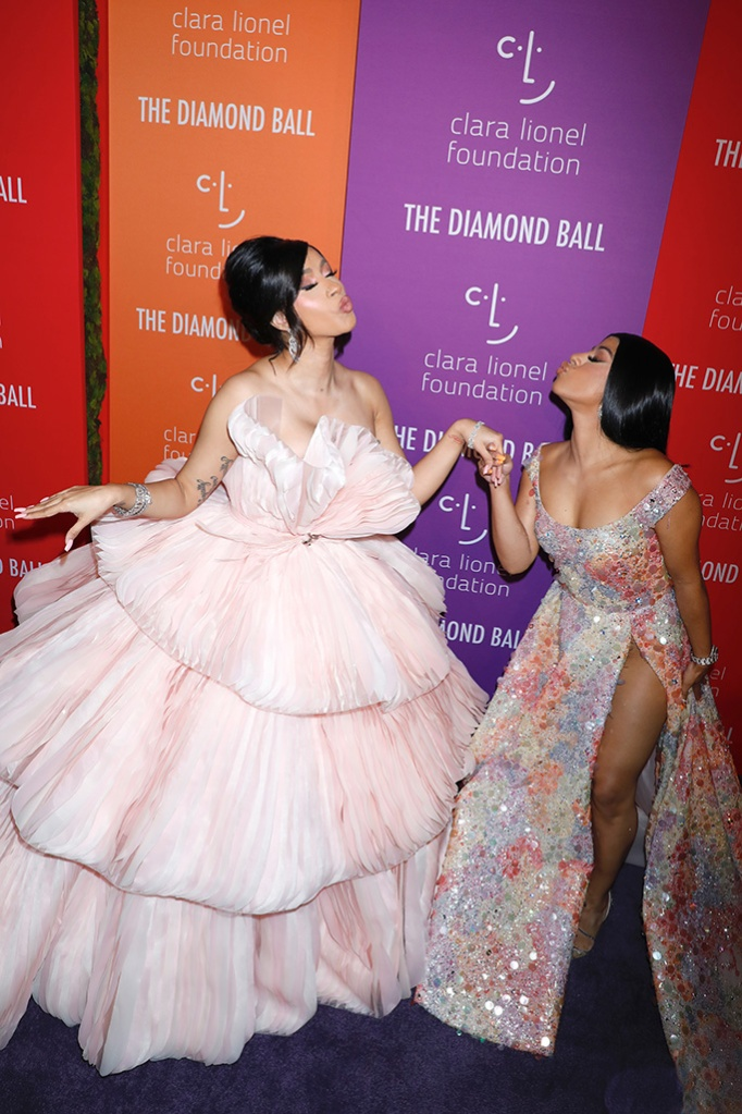 Cardi B and Henessy Carolina at the 5th Annual Clara Lionel Foundation Diamond Ball, couture gowns, pink gown, multicolored gown