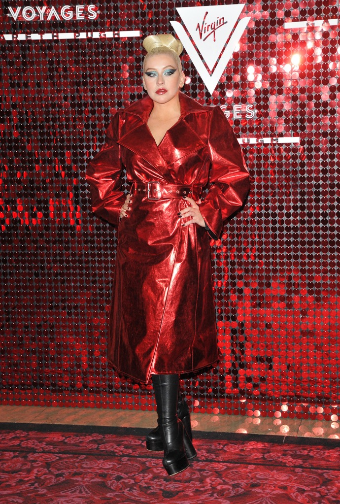 Christina Aguilera, black boots, thigh-high, platform boots, red coat, Virgin Voyages capsule collection launch event, Royal Opera House, Spring Summer 2020, London Fashion Week, UK - 15 Sep 2019