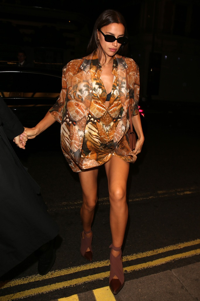 Irina Shayk, oversized top, pantless, blazer, legs, celebrity style, Love Magazine Party, Arrivals, Spring Summer 2020, London Fashion Week, UK - 16 Sep 2019Wearing Burberry