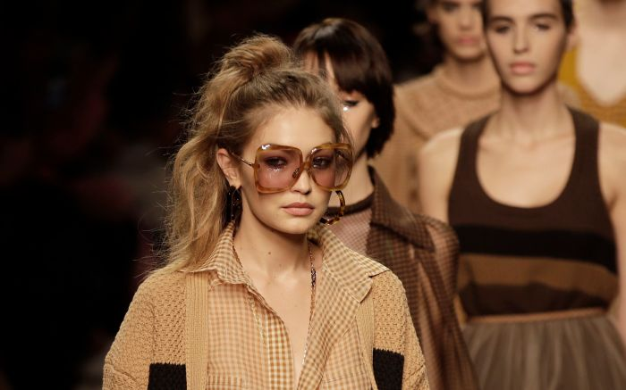 Gigi Hadid wears a creation as part of the Fendi Spring-Summer 2020 collection, unveiled during the fashion week, in Milan, ItalyFashion S/S 2020 Fendi, Milan, Italy - 19 Sep 2019