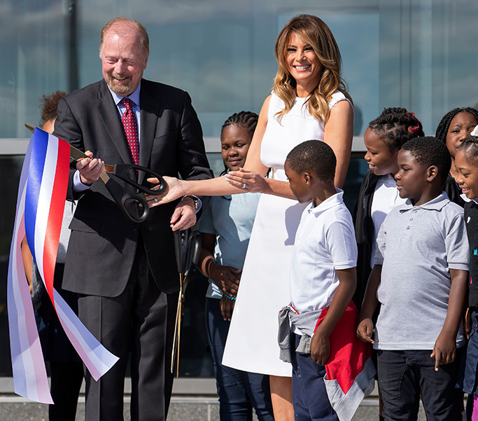 prada white dress, manolo blahnik python bb pumps, high heels, US First Lady Melania Trump greets a group of area fourth grade students while participating in the reopening of the Washington Monument on the National Mall in Washington, DC, USA, 19 September 2019. The Washington Monument had been closed for more than three years to replace the elevator and add a security screening facility.Washington Monument reopens to the public, USA - 19 Sep 2019