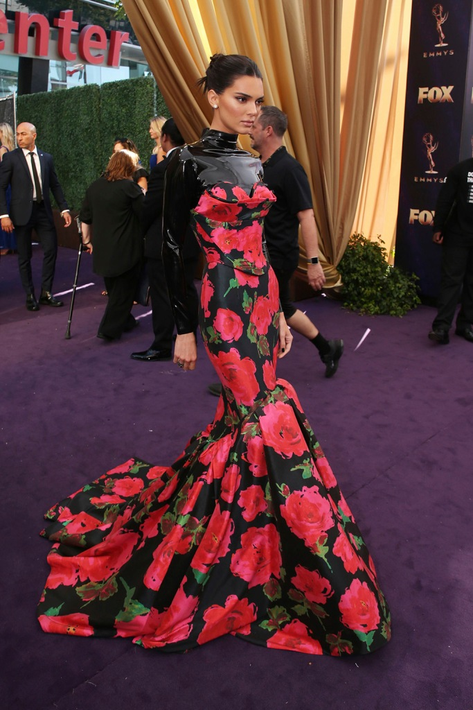 Kendall Jenner, floral dress, Richard Quinn, gown , celebrity style, brown hair, arrives at the 71st Primetime Emmy Awards, at the Microsoft Theater in Los AngelesFIJI Water at the 71st Primetime Emmy Awards, Los Angeles, USA - 22 Sep 2019