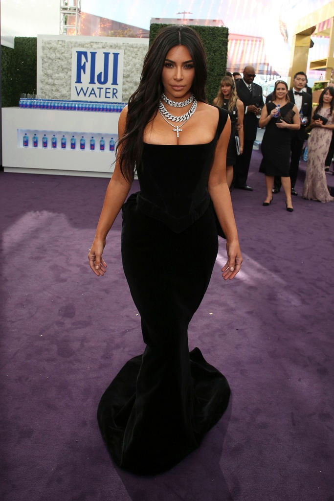 Kim Kardashian , black gown, Vivienne westwood, red carpet, celebrity style, West arrives at the 71st Primetime Emmy Awards, at the Microsoft Theater in Los AngelesFIJI Water at the 71st Primetime Emmy Awards, Los Angeles, USA - 22 Sep 2019