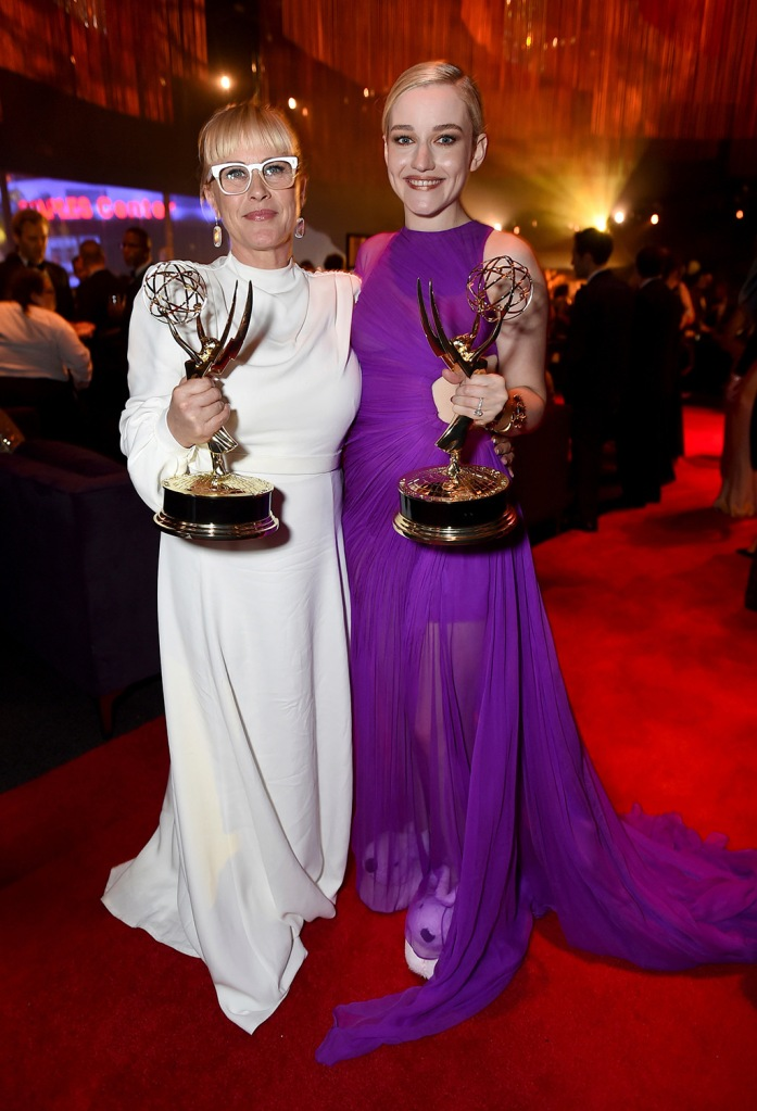 "Patricia Arquette, Julia Garner, slippers, lbv dress, Patricia Arquette, winner of the award for outstanding supporting actress in a limited series or movie for ""The Act,"" left, and Julia Garner, winner of the award for outstanding supporting actress in a drama series for ""Ozark,"" attend the 71st Primetime Emmy Awards Governors Ball, at the Microsoft Theater in Los Angeles71st Primetime Emmy Awards - Governors Ball, Los Angeles, USA - 22 Sep 2019"