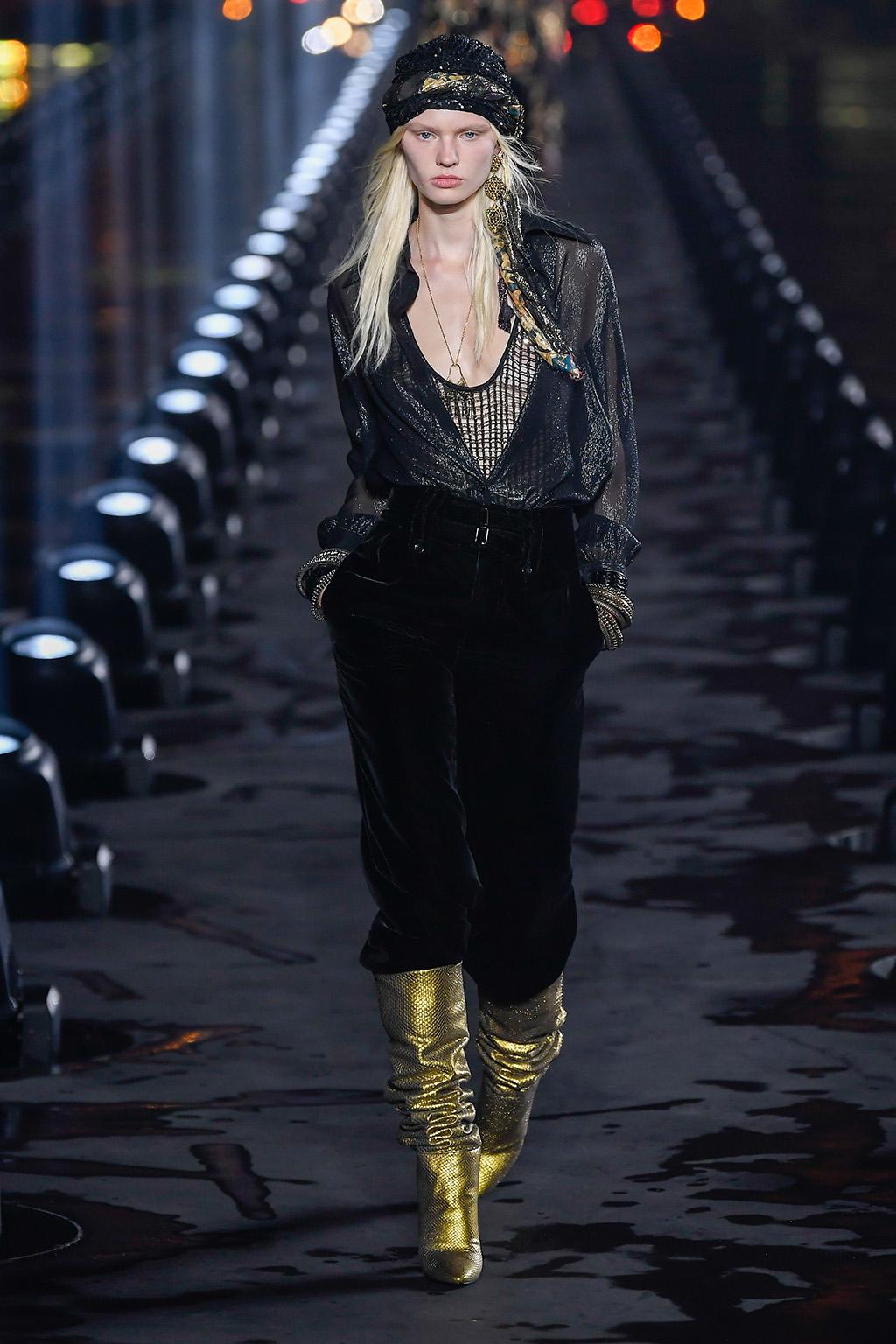 Model on the catwalkSaint Laurent show, Runway, Spring Summer 2020, Paris Fashion Week, France - 24 Sep 2019