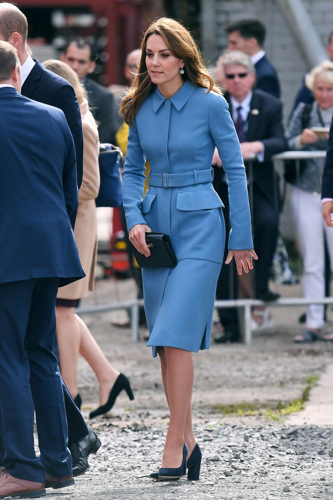 Kate Middleton, Alexander McQueen, coat dress, emmy London shoes, blue suede pumps, royal style, Catherine Duchess of CambridgeRRS Sir David Attenborough polar ship naming ceremony, Cammell Laird Shipyard, Birkenhead, UK - 26 Sep 2019Owned by the Natural Environment Research Council (NERC) and operated by the British Antarctic Survey (BAS), the RRS Sir David Attenborough will enable world-leading research to be carried out in Antarctica and the Arctic over the next 25 to 30 years. Studying these remote regions plays a crucial role in allowing us to understand the changes in our planet's oceans, marine life and climate systems. The ship will be available year-round to the UK's research community. On board, Their Royal Highnesses will meet a team of engineers from Cammell Laird who have been involved in the ship's build, including young apprentices. Founded in Birkenhead in 1828, Cammell Laird specialises in ship building, repair, refit and conversion as well as providing engineering services to the energy sector. Wearing Alexander McQueen, Worn Before