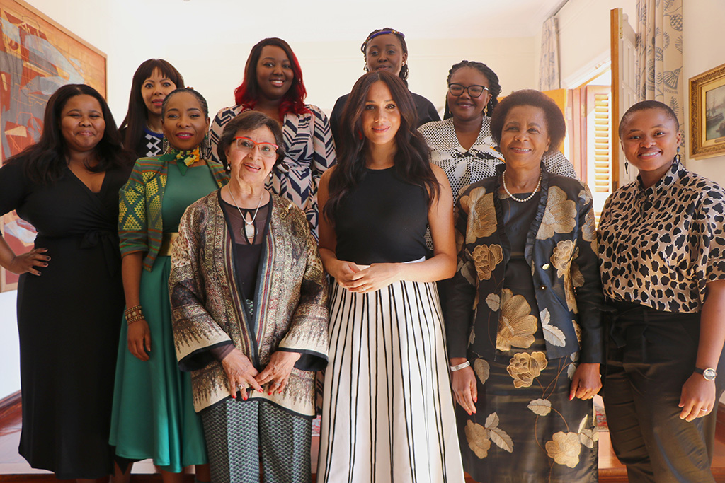 meghan markle, j.crew skirt, tank top, South Africa , striped skirt, STRICT EMBARGO: 0001, SUNDAY 29 SEPTEMBER 2019Mandatory Credit: Photo by @SussexRoyal/Shutterstock (10429132b)Meghan Duchess of Sussex (Centre) invited a group of South African women leaders including Sophia Williams-De Bruyn, Dr. Mamphela Ramphele, Professor Mamokgethi Phakeng, Lindiwe Mazibuko, Judy Sikuza, Mbali Ntuli, Siviwe Gwarube, Nompendulo Mkatshwa and Sonja De Bruyn Sebotsa, to join her in Cape Town, to better understand the roles they play - and have played - for their country and their communities.Prince Harry and Meghan Duchess of Sussex visit to Africa - 28 Sep 2019Each of the women were from different generations, different political parties, different backgrounds, and different regions, yet each had a common purpose and drive for gender equality and women's empowerment. During their time together, the women were able to share the struggles they have faced, their action plan for the future, and the root cause and accompanying feeling of the issue at hand.