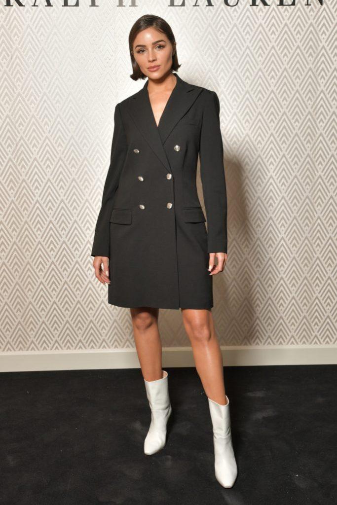 Olivia Culpo, white boots, black blazer dress, celebrity style, legs, Ralph Lauren x Vanity Fair party, Spring Summer 2020, Paris Fashion Week, France - 28 Sep 2019