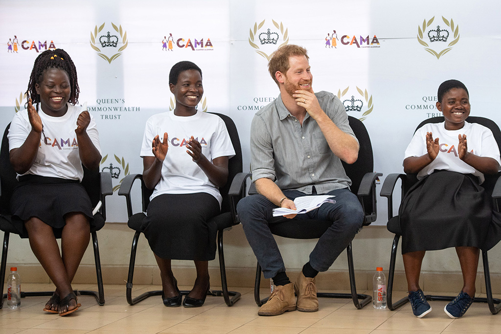 Britain's Prince Harry, the Duke of Sussex (2-R) speaks to students during a visit to the Nalikule College of Education to learn about the CAMA network and how it is supporting young women, in Lilongwe, Malawi, 29 September 2019. The Duke and Duchess of Sussex are on a 10-day tour of southern Africa.Duke and Duchess of Sussex Royal tour of southern Africa, Lilongwe, Malawi - 29 Sep 2019