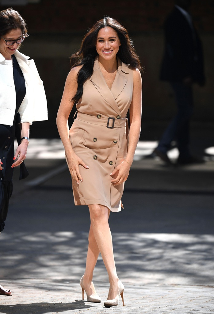 Meghan markle, Stuart weitzman shoes, legend pumps, suede stilettos, celebrity style, banana republic dress, trench dress, khaki dress, legs, Duchess of Sussex visit to the University of JohannesburgMeghan Duchess of Sussex visit to Johannesburg, South Africa - 01 Oct 2019Wearing Banana Republic, High-Street Brand