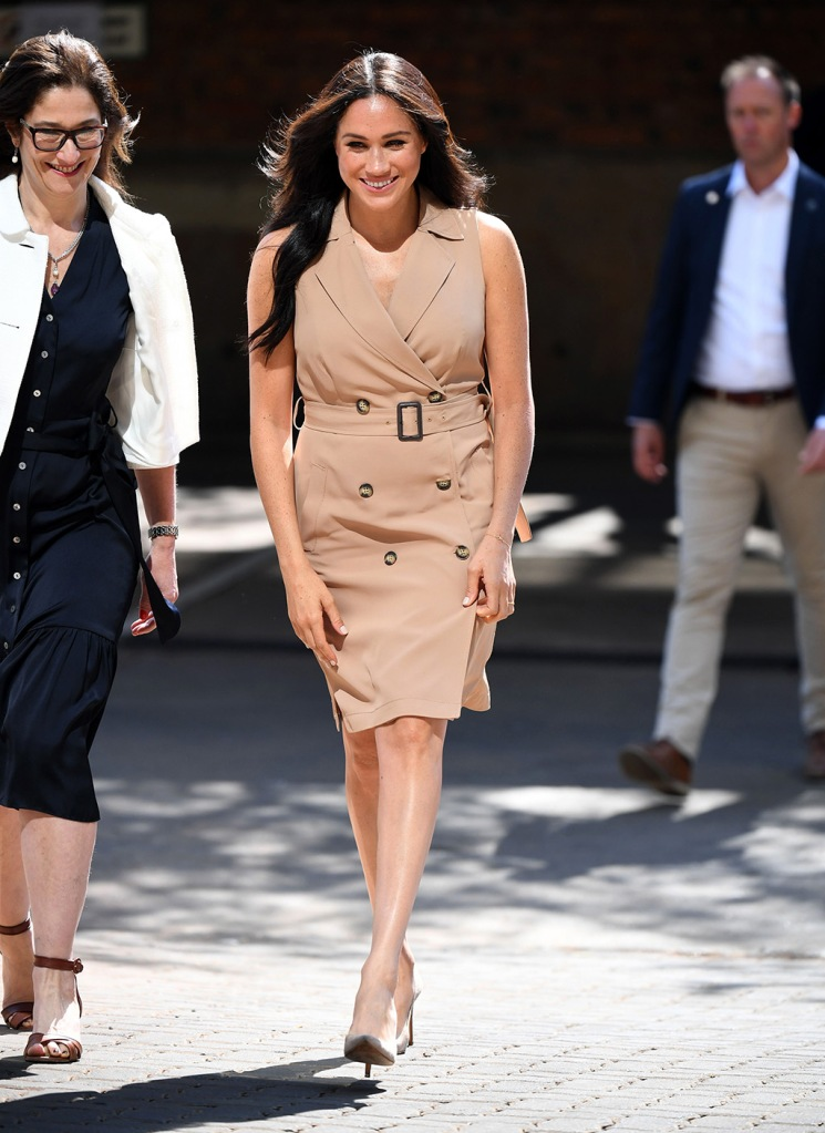 Meghan markle, Stuart weitzman shoes, banana republic, legend pumps, suede stilettos, celebrity style, banana republic dress, trench dress, khaki dress, legs, Duchess of Sussex visit to the University of JohannesburgMeghan Duchess of Sussex visit to Johannesburg, South Africa - 01 Oct 2019Wearing Banana Republic, High-Street Brand