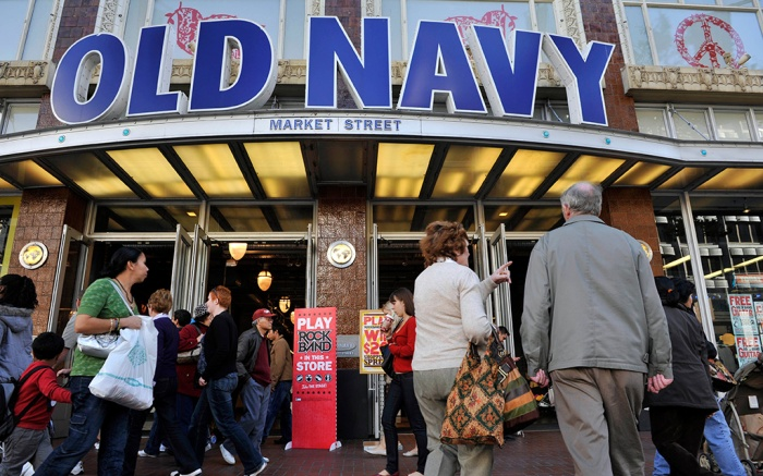People walk past Old Navy's flagship store during their Thanksgiving day sale in San FranciscoBlack Friday Holiday Shopping Old Navy, San Francisco, USA