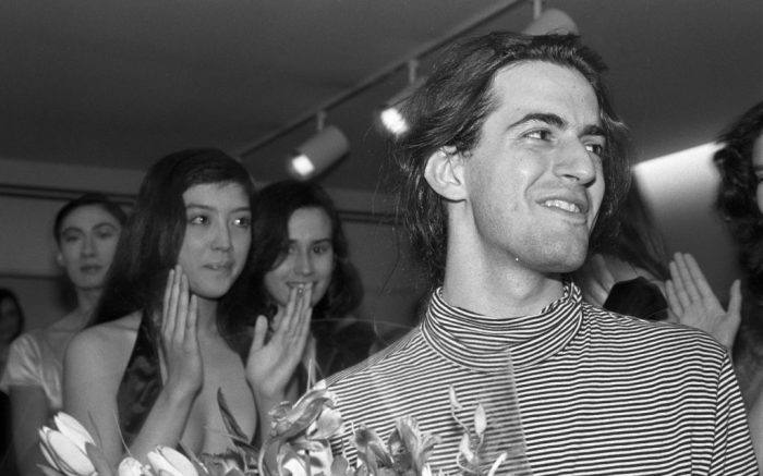 Marc Jacobs celebrates on the runway after a show for his label's Fall 1987 collectionMarc Jacobs Fall 1987 RTW