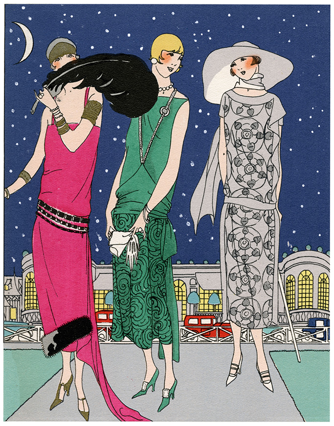 1920s fashion trends, Three Fashionable Young Ladies in Evening Outfits by Worth On the Left A Casino Dress in Bright Pink Satin Crepe with Black Fur Border and Jet Black Belt in the Middle A Dress in Green Satin Crepe with Matching Guipure Lace On the Skirt On the Right A Dress in Grey and Black Patterned Muslin 1924Historical Collection85, 1920s style