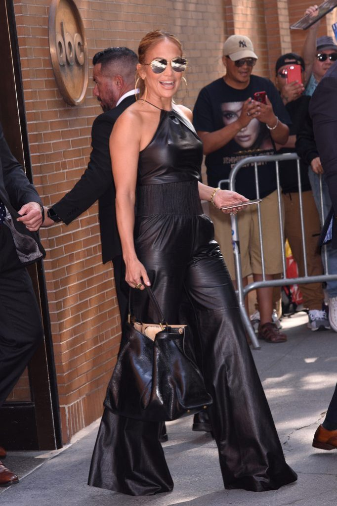 Jennifer Lopez, the view, jumpsuit, cushnie outfit, leather, celebrity style, Exits The View TV TapingABC Studio, NYPictured: Jennifer LopezRef: SPL5115113 110919 NON-EXCLUSIVEPicture by: Janet Mayer / SplashNews.comSplash News and PicturesLos Angeles: 310-821-2666New York: 212-619-2666London: +44 (0)20 7644 7656Berlin: +49 175 3764 166photodesk@splashnews.comWorld Rights