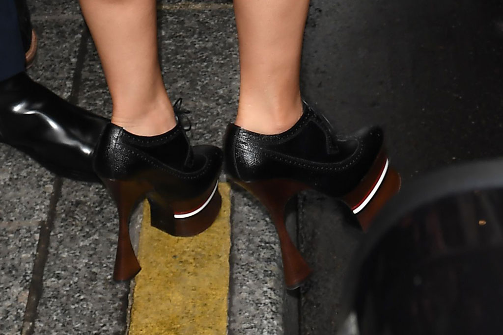 Cardi B, thom Browne, Paris fashion week, spring 2020, front row, celebrity style, platforms, shoe detail, booties