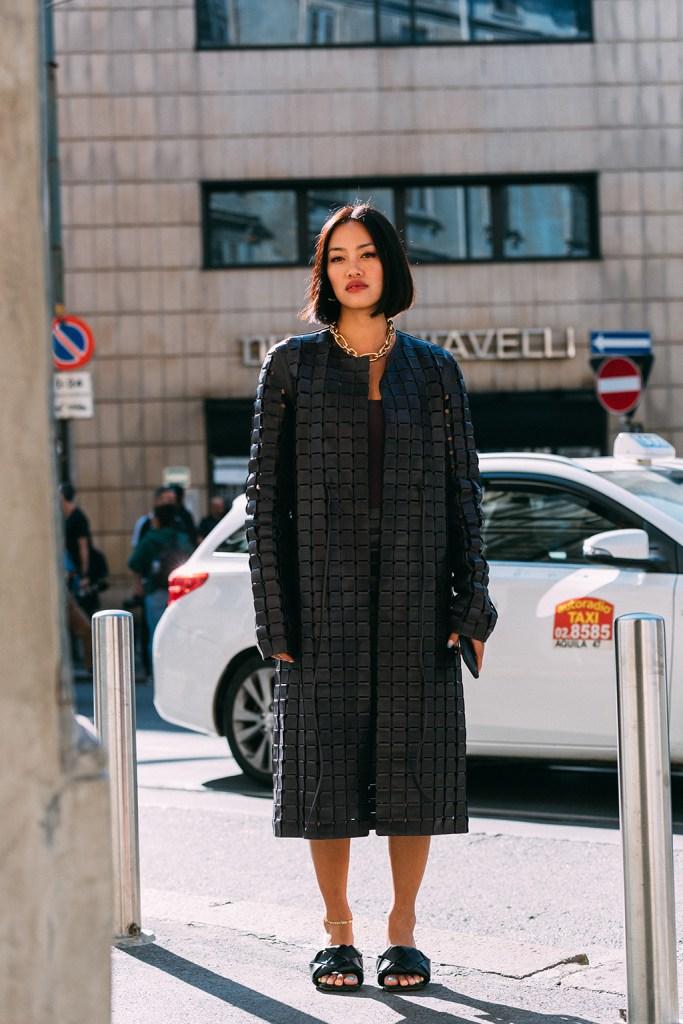Tiffany Hsu, Bottega Veneta, knotted sandals, street style, Milan fashion week