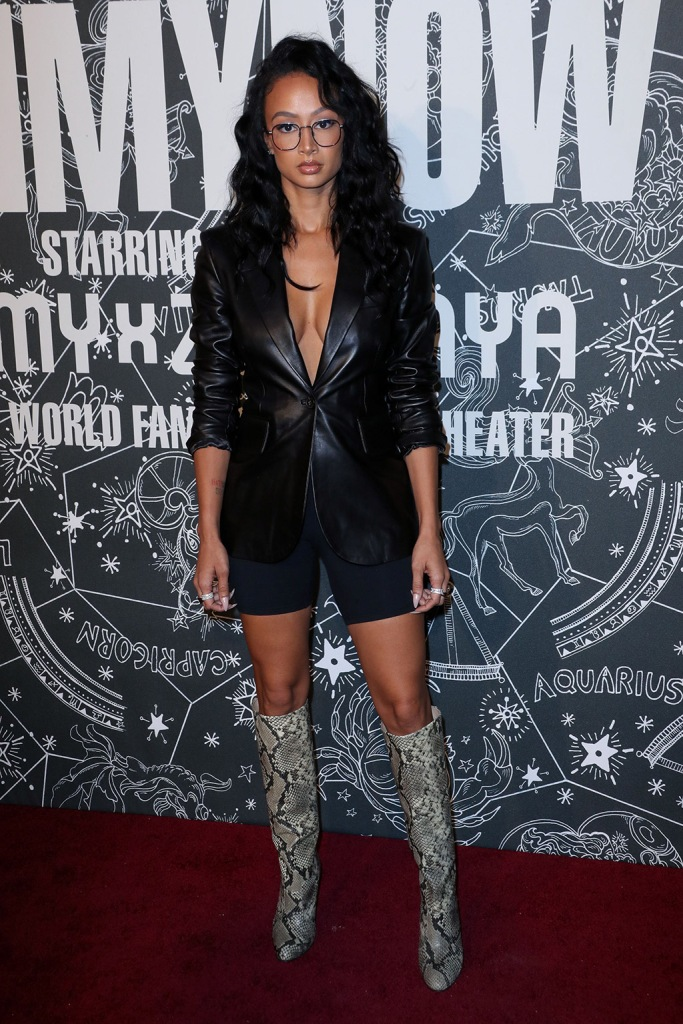 Draya Michele, snakeskin boots, leather blazer, bike shorts, Tommy Hilfiger show, Arrivals, Spring Summer 2020, New York Fashion Week, USA - 08 Sep 2019