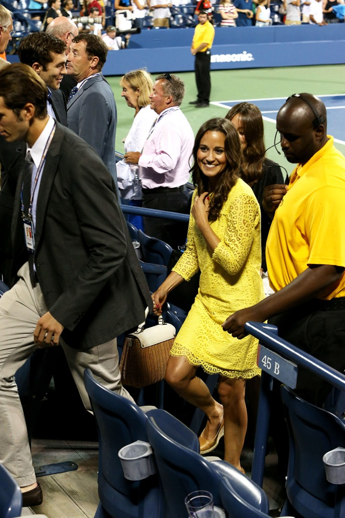 Pippa Middleton, Russell and bromley, wedges, celebrity style, yellow dress, Spencer Vegosen and Pippa MiddletonUS Open Tennis Championships, Flushing Meadows, New York, America - 05 Sep 2012Pippa Middleton watching Andy Murray v Marin Cilic