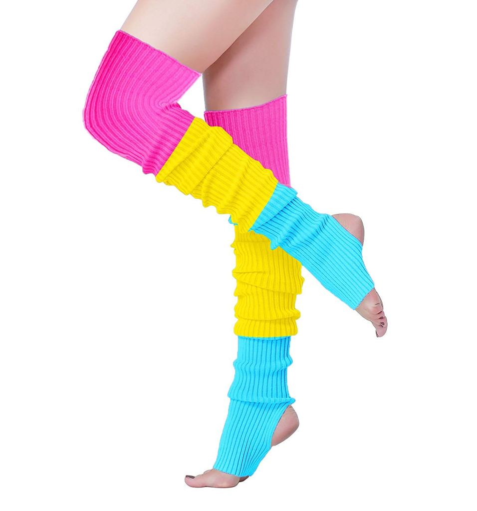 v28, leg warmers, colorful