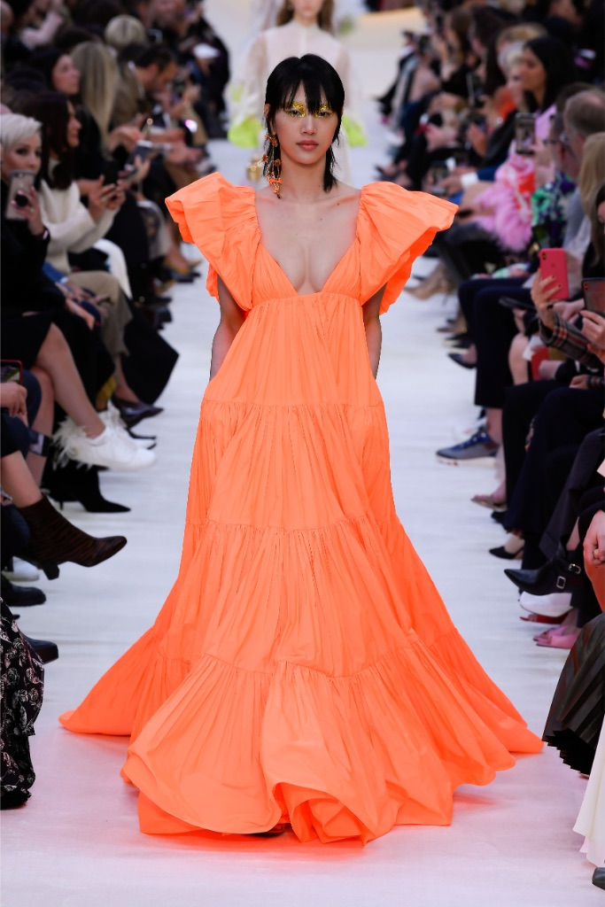 valentino, spring 2020, pfw, orange gown
