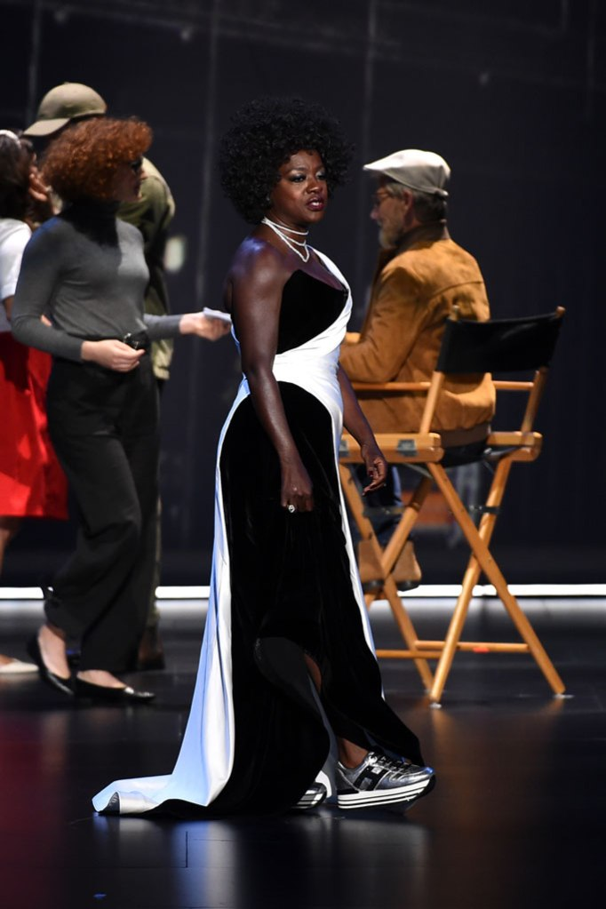 Viola Davis, Alberta ferretti dress, hogan sneakers, metallic trainers, presents the award for outstanding supporting actor in a drama series at the 71st Primetime Emmy Awards, at the Microsoft Theater in Los Angeles71st Primetime Emmy Awards - Show, Los Angeles, USA - 22 Sep 2019