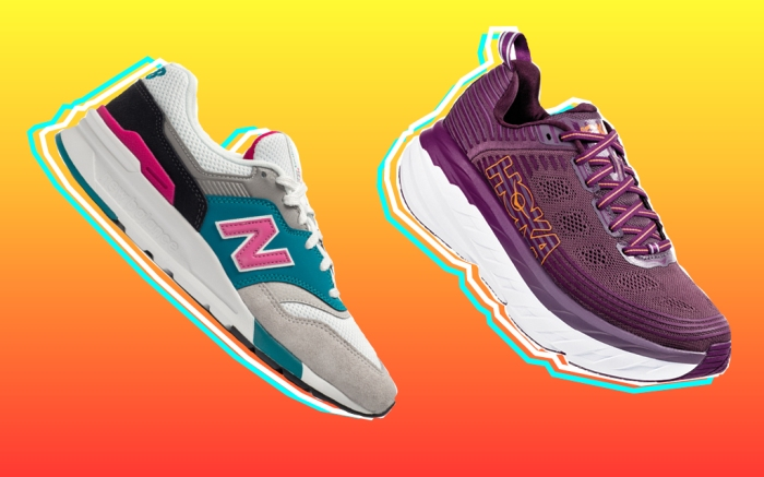 From left: New Balance women's 997H; Hoka One One women's Bondi 6.
