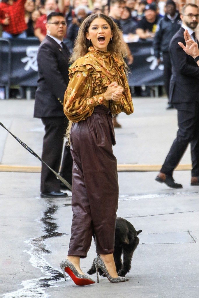 Zendaya', Zimmermann fall 2019, floral shirt, leather pants, christian louboutin shoes, crystal-covered pumps, celebrity style, Jimmy Kimmel Live' TV Show, Los Angeles, USA - 09 May 2019Wearing Zimmermann