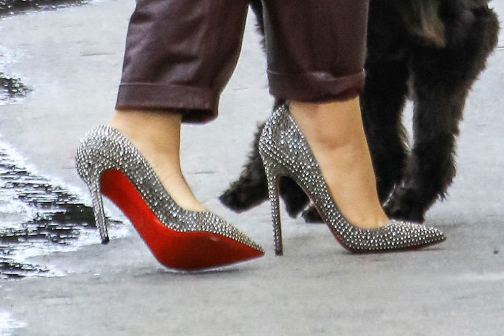 Zendaya', stilettos, red bottoms, Zimmermann fall 2019, floral shirt, leather pants, christian louboutin shoes, crystal-covered pumps, celebrity style, Jimmy Kimmel Live' TV Show, Los Angeles, USA - 09 May 2019Wearing Zimmermann