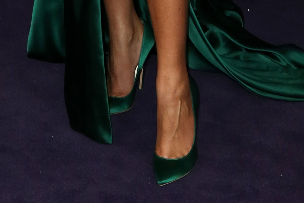 Zendaya, Brian Atwood shoes, green pumps, celebrity style, red carpet, emmy awards