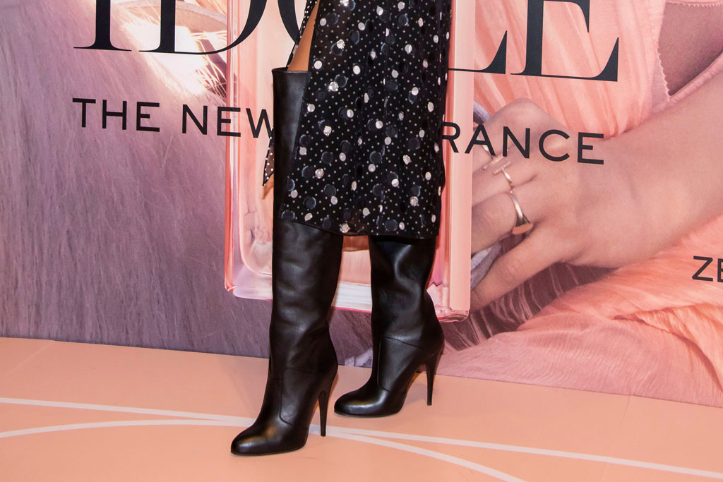 Zendaya, black boots, Lancôme event, celebrity style, perfume, fashion