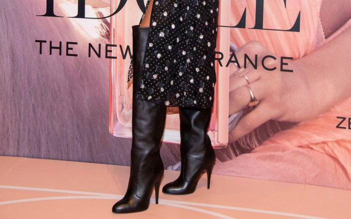 Zendaya, black boots, Lancôme event, celebrity style, perfume, fashion