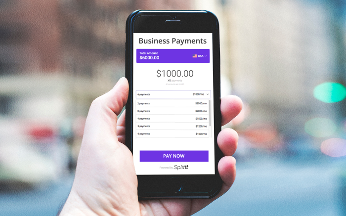 Splitit Phone Screen Displaying Business Payments