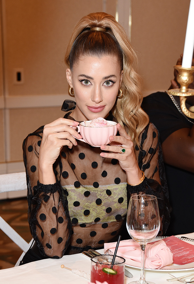taylor hill x boohoo, boohoo fall 2019, tea party, MALIBU, CALIFORNIA - OCTOBER 13: Jessica Serfaty attends boohoo x Taylor Hill Tea Party at The Beverly Hills Hotel on October 13, 2019 in Beverly Hills, California. (Photo by Presley Ann/Getty Images for boohoo.com)