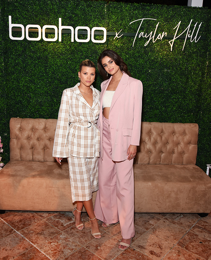 taylor hill x boohoo, boohoo fall 2019, MALIBU, CALIFORNIA - OCTOBER 13: (L-R) Sofia Richie and Taylor Hill attend boohoo x Taylor Hill Tea Party at The Beverly Hills Hotel on October 13, 2019 in Beverly Hills, California. (Photo by Presley Ann/Getty Images for boohoo.com)